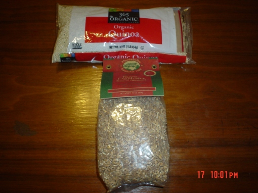Inexpensive quinoa and farro can be found at Whole Foods.