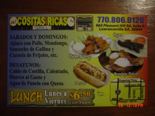Cositas Ricas uses a card to advertise their offerings