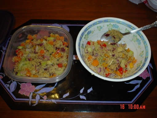 Two servings of a quinoa stir fry.