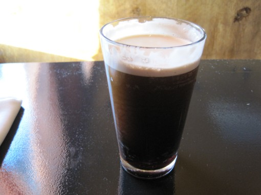 Guiness - lighter in taste than the color suggests.