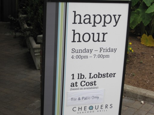 Lobster specials during Happy Hour.