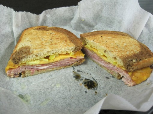 A grilled ham and cheese with slices of banana pepper, from Jen's.