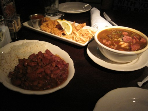 left: red beans and rice. center: fried alligator. right: gumbo.