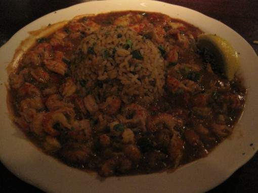 crawfish etouffee with dirty rice.