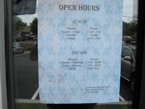 Sushi Avenue Hours