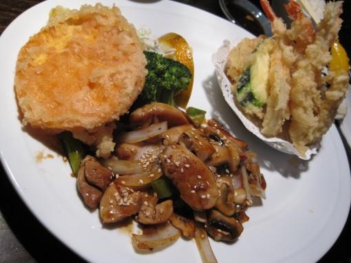 Chicken teriyaki and tempura.