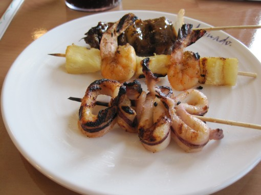 short rib, grilled shrimp and squid kebabs.