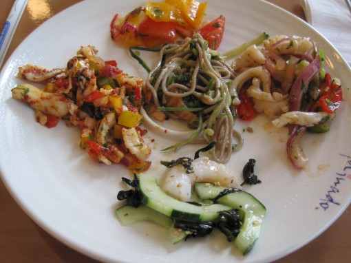 salads - left: ceviche, mid: soba with salmon, right: calamari, top:tomato, bot:cucumber with shrimp
