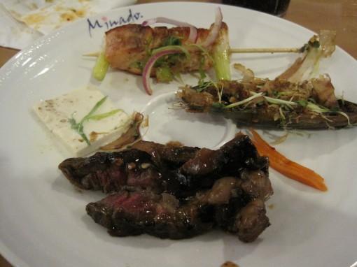 grilled salmon kebab, green mussel, and beef teriyaki
