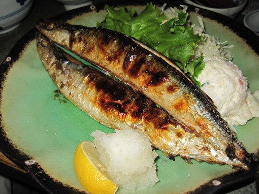grilled pike mackerel, or pacific saury. sanma in Japanese, kongchi in Korean.