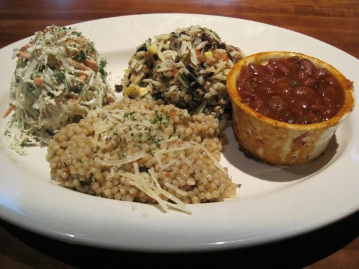 J Alexander's vegetable plate, with slaw, couscous, orzo and wild rice, and tequila beans.