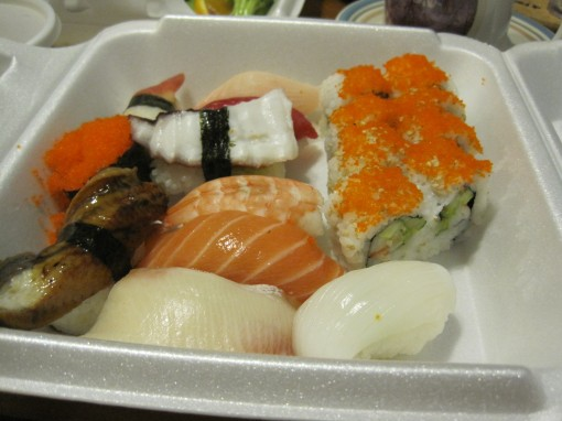 Assorted sushi.