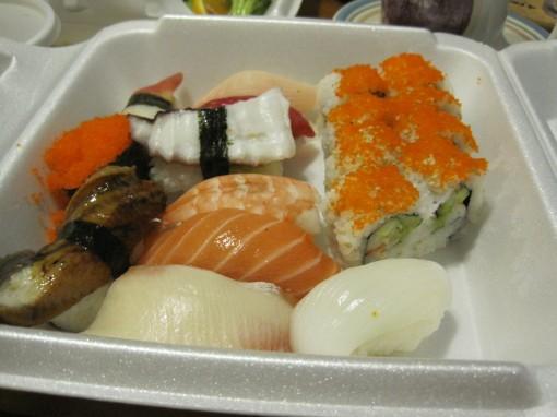 Assorted sushi.
