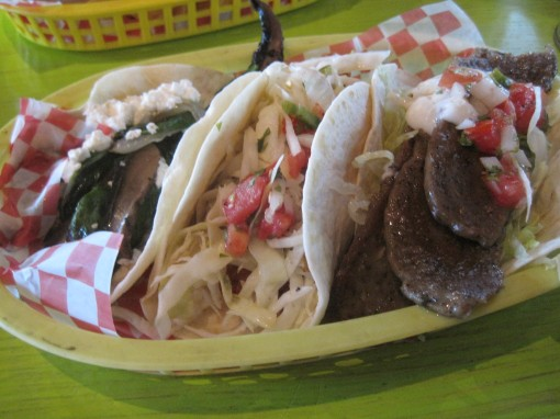 Portabella on left, gyro on right. Fish taco in the middle.