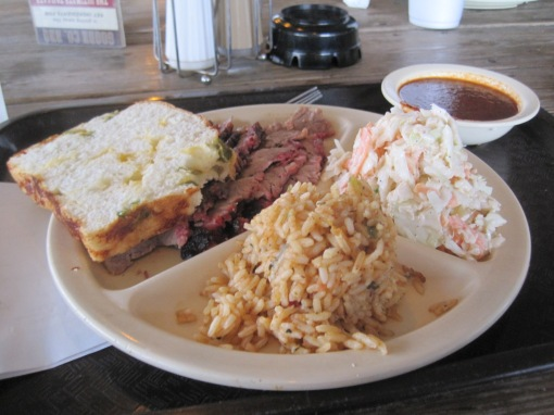 beef brisket, slaw, Goode Company's take on jambalaya.