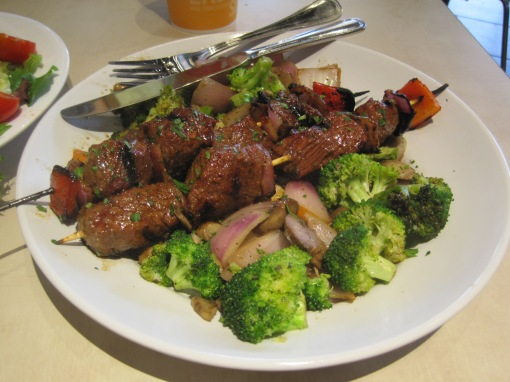One of the best things about Zoes are the marinated beef kabobs.