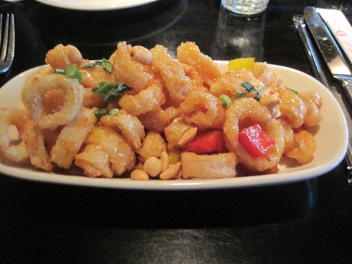 Chiki thai calamari. Grteat tasting, though the sauce was more a classic sweet and sour  style than recognizably Thai.