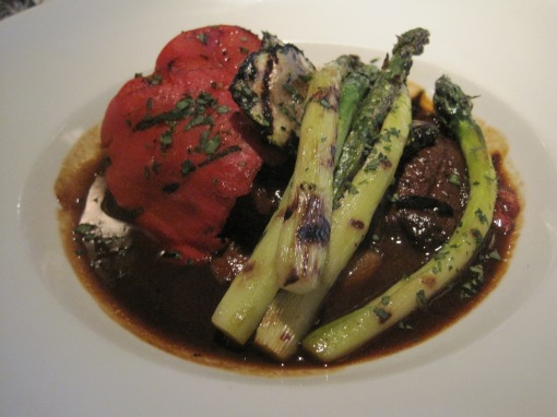 Under the pepper, portobello, and asparagus is a fine bit of lamb.
