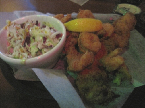 Fish and shrimp basket, with slaw.