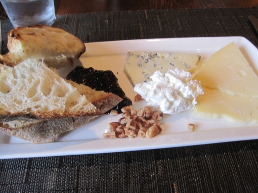 Cheese plate. That slice of blue was key to my happiness. Bread was crusty and good.