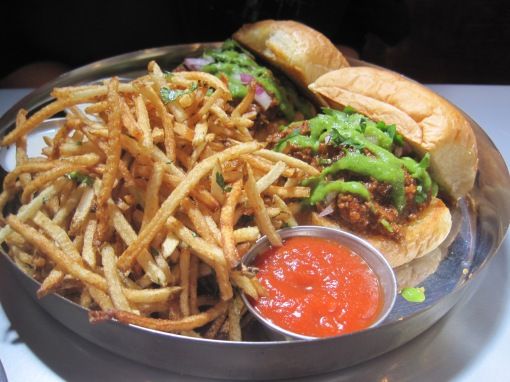 Sloppy Jai (lamb sloppy joes). The shoestring fries are excellent.