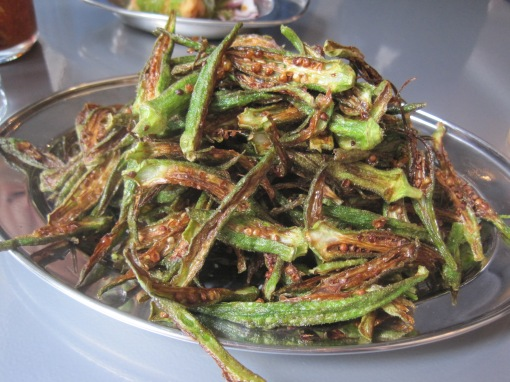 Okra fries. Recommended in general, reminiscent of good fried okra. Good for those with carb limits.