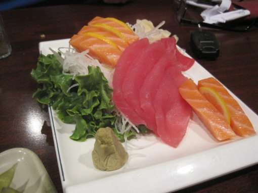 Tuna and salmon sashimi plate.
