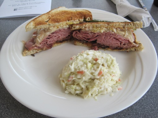 New Yorker, toasted bread, cole slaw. Good sandwich.