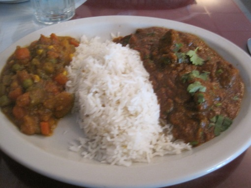 lamb curry, lunch serving.