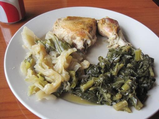 Baked chicken, collards, cabbage, all very tasty.