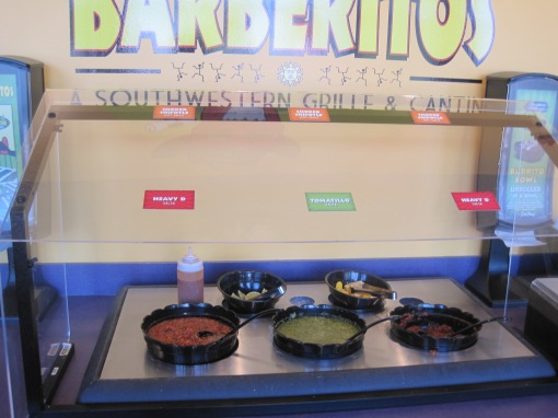 The salsa bar is appealing and the chipotle hot sauce has a kick to it.