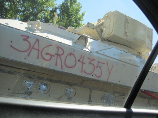 On the way to Memphis we passed these untracked Bradley Fighting Vehicles being towed on trucks.
